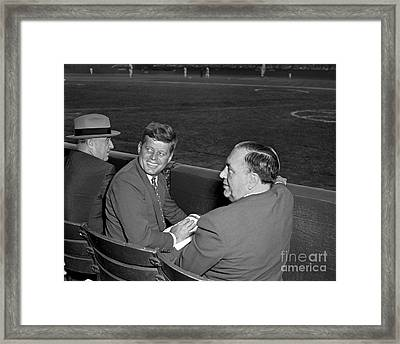 Framed Print featuring the photograph Kennedy Baseball 1959 by Martin Konopacki Restoration