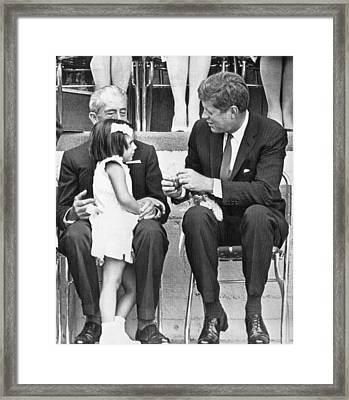 Kennedy In Mexico City Framed Print