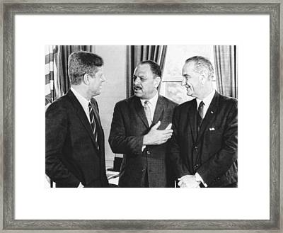 Kennedy, Johnson And Khan Talk Framed Print by Underwood Archives