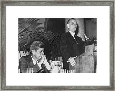 Kennedy Listens To Johnson Framed Print by Underwood Archives