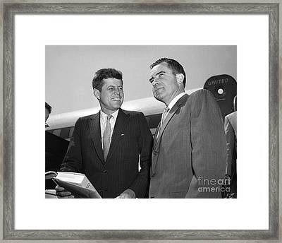 Framed Print featuring the photograph Kennedy Nixon 1959 by Martin Konopacki Restoration