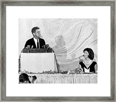 Kennedy Speaks At Fundraiser Framed Print by Underwood Archives