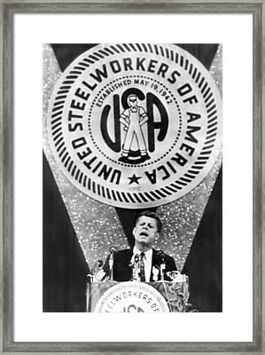 Kennedy Speaks To Steelworkers Framed Print