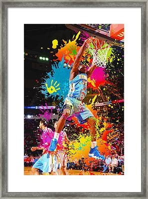 Kenneth Faried  Of The Denver Nuggets Dunks Framed Print by Don Kuing