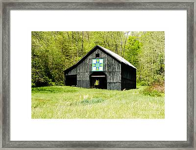 Kentucky Barn Quilt - Darting Minnows Framed Print by Mary Carol Story