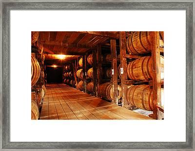 Kentucky Bourbon Aging In Barrels Framed Print
