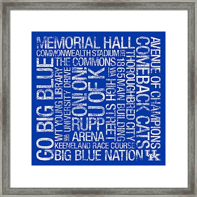 Kentucky College Colors Subway Art Framed Print