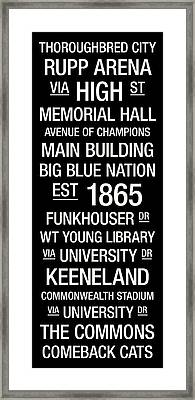 Kentucky College Town Wall Art Framed Print