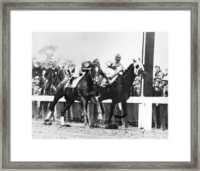 Kentucky Derby Foul Play Framed Print by Underwood Archives