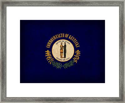 Kentucky State Flag Art On Worn Canvas Framed Print