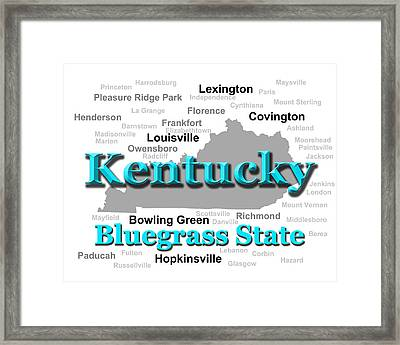 Kentucky State Pride Map Silhouette  Framed Print by Keith Webber Jr