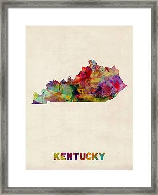 Kentucky Watercolor Map Framed Print by Michael Tompsett