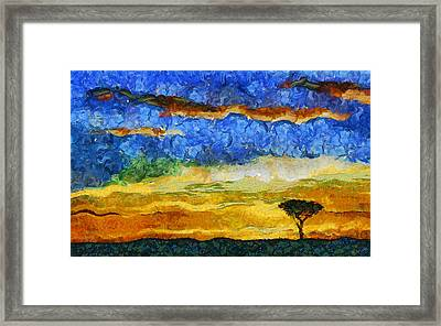 Kenyan Sunrise Framed Print by Marina Likholat
