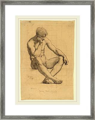 Kenyon Cox, Seated Male Nude Study For Science-iowa State Framed Print by Litz Collection