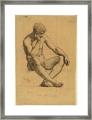 Kenyon Cox, Seated Male Nude Study For Science - Iowa State Framed Print by Quint Lox