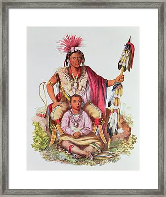 Keokuk Or Watchful Fox, Chief Of The Sauks And Foxes, And His Son, Musewont Or Long-haired Fox Framed Print