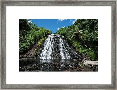 Kepirohi Waterfall, Pohnpei Framed Print by Michael Runkel
