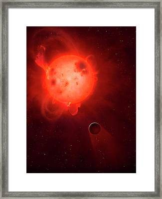 Kepler 438 And Rocky Planet 438b Framed Print by Mark Garlick