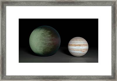 Kepler-7b And Jupiter Framed Print by Nasa/jpl-caltech/mit