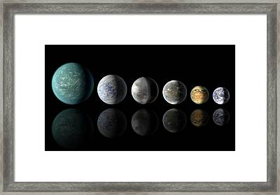 Kepler Exoplanets And Earth Framed Print by Nasa/ames/jpl-caltech