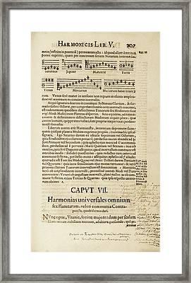 Kepler On Planetary Harmony Framed Print