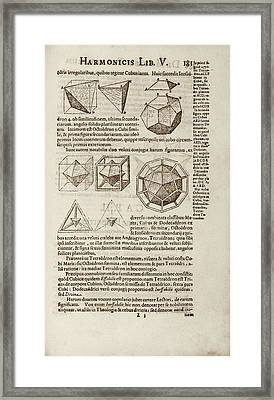 Kepler On Platonic Solids Framed Print