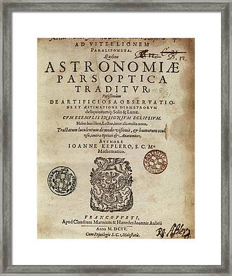 Kepler's 'astronomiae Pars Optica' (1604) Framed Print by Middle Temple Library