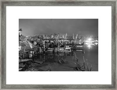 Kerala Night Dock Framed Print by Sonny Marcyan