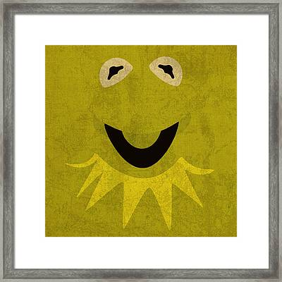 Kermit The Frog Vintage Minimalistic Illustration On Worn Distressed Canvas Series No 001 Framed Print by Design Turnpike