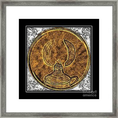 Kerosene Lamp - Brass Etching Framed Print by Barbara Griffin