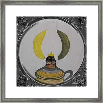 Kerosene Lamp - Porthole Vignette Framed Print by Barbara Griffin