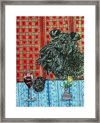 Kerry Blue Terrier At The Wine Bar Framed Print by Jay  Schmetz