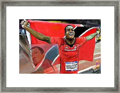 Framed Print featuring the mixed media Keshorn Walcott by Vannetta Ferguson