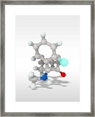 Ketamine Drug, Molecular Model Framed Print by Science Photo Library