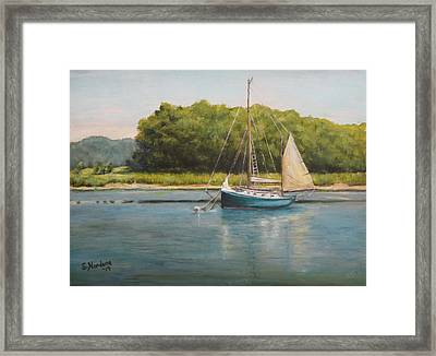 Framed Print featuring the painting Ketch At Anchor by Sandra Nardone