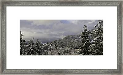Framed Print featuring the pyrography Ketchikan Alaska After A Small Snow. by Timothy Latta