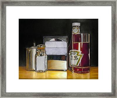 Ketchup And Diner Still Life Framed Print by Vic Vicini