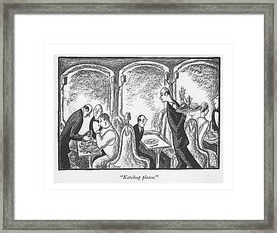 Ketchup Please Framed Print by Peter Arno
