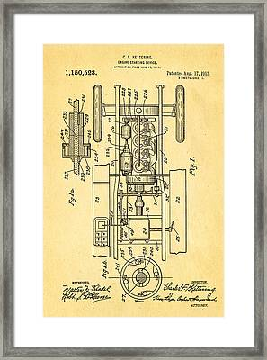 Kettering Electric Ignition Patent Art 1915 Framed Print by Ian Monk
