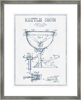 Kettle Drum Drum Patent Drawing From 1941  - Blue Ink Framed Print by Aged Pixel