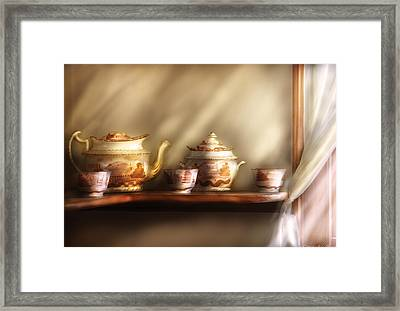 Kettle - My Grandmother's Chinese Tea Set  Framed Print by Mike Savad