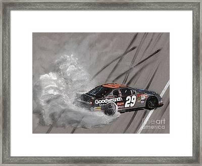 Kevin Harvick-victory Burnout Framed Print by Paul Kuras