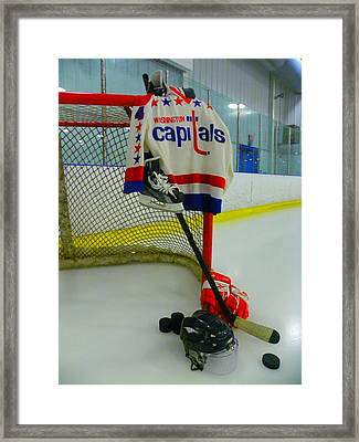 Kevin Hatcher Vintage Home Hockey Jersey Framed Print by Lisa Wooten