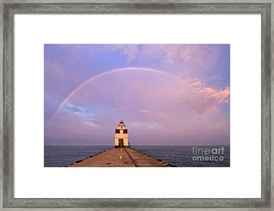 Kewaunee Pierhead Lighthouse And Rainbow - D002811 Framed Print