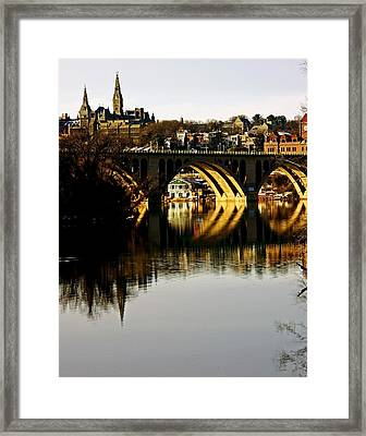 Key Bridge And Georgetown  Framed Print