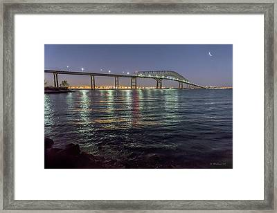 Key Bridge At Night Framed Print