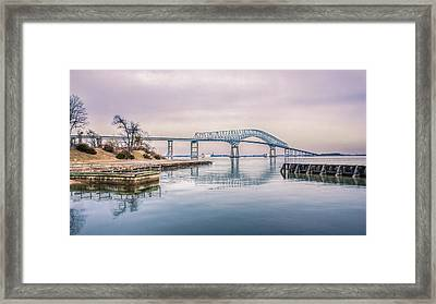 Key Bridge In Winter Framed Print by Rob Sellers