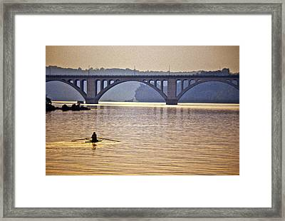 Key Bridge Rower Framed Print