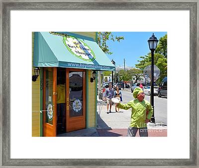 Key Lime Pie Man In Key West Framed Print by Janette Boyd