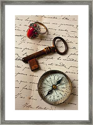 Key Ring And Compass Framed Print by Garry Gay